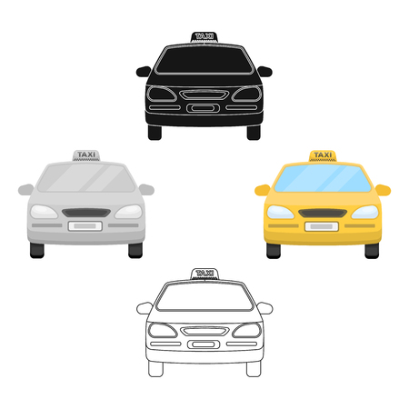 Yellow taxi car.Transport taxis for passengers. Taxi station single icon in cartoon,black style vector symbol stock illustration.