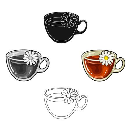 Glass mug with tea useful.Vegetarian therapeutic chamomile tea.Vegetarian Dishes single icon in cartoon,black style vector symbol stock illustration.