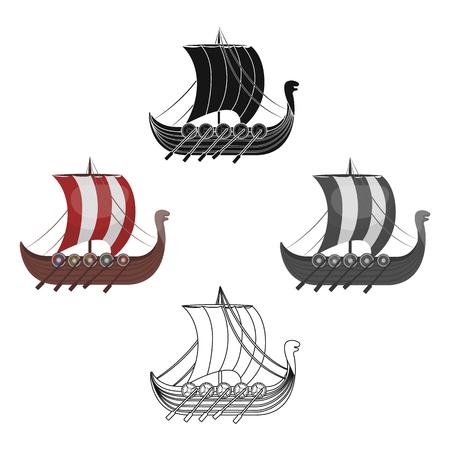 Viking s ship icon in cartoon,black style isolated on white background. Vikings symbol stock vector illustration. Illustration