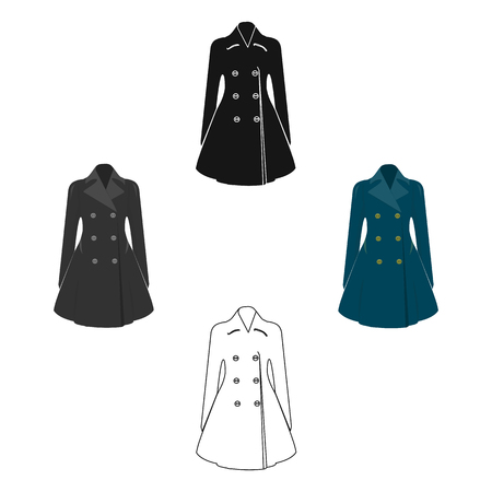 Blue female restrained coat buttoned. Women s outerwear..Woman clothes single icon in cartoon,black style vector symbol stock illustration.