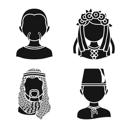 Vector illustration of person and culture icon. Collection of person and race  vector icon for stock.