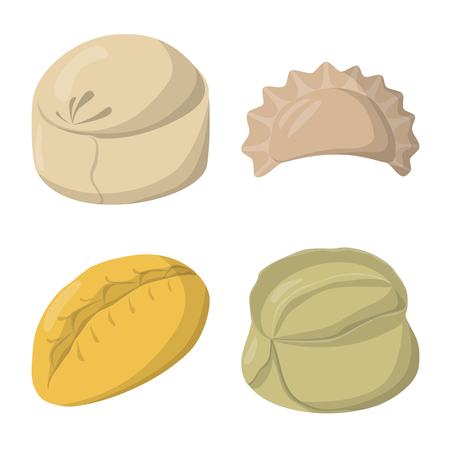 Vector design of dumplings and food  icon. Set of dumplings and stuffed stock vector illustration.