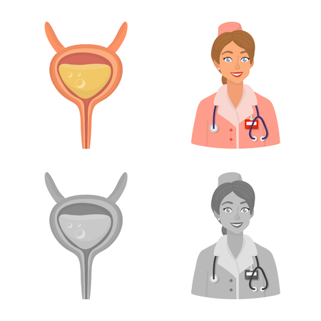 Vector illustration of diet and treatment. Set of diet and medicine stock symbol for web.
