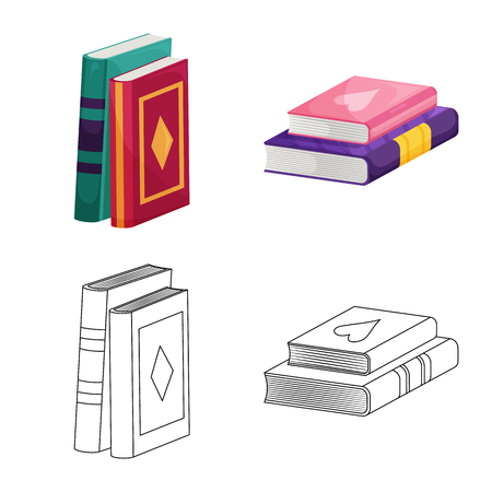 Vector illustration of training and cover symbol. Set of training and bookstore  stock symbol for web.