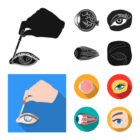 Vector design of medical and eyeball icon. Collection of medical and optical vector icon for stock.