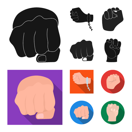 Vector design of fist and punch. Set of fist and hand vector icon for stock. Illustration