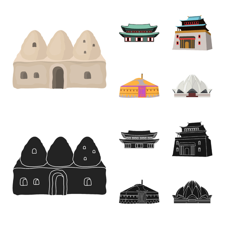 Vector design of town  and chinatown symbol. Set of town  and asian  stock vector illustration.