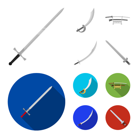 Vector illustration of sword and blade sign. Set of sword and game  stock vector illustration.