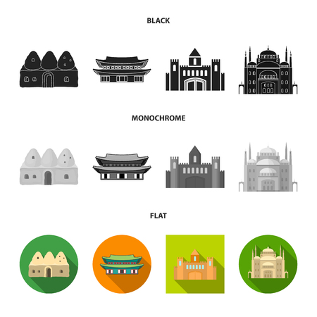 Vector design of town  and chinatown icon. Set of town  and asian  vector icon for stock.