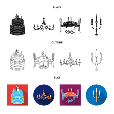 Vector illustration of candle and candlestick sign. Collection of candle and church stock vector illustration. Vettoriali