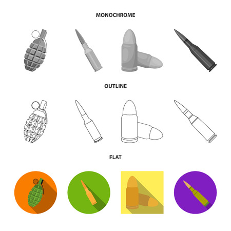 Vektorillustration des Waffen- und Kriegssymbols. Satz von Waffen- und Inventarlager-Vektorillustration. Vektorgrafik