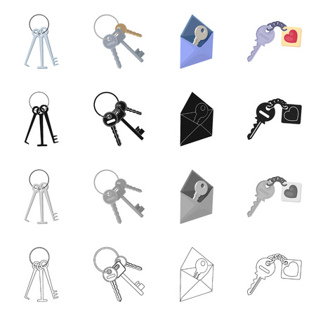 Vector illustration of key  and protection icon. Set of key  and security vector icon for stock.