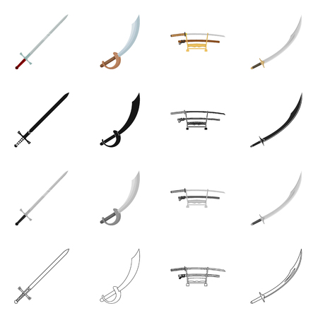 Vector illustration of sword and blade. Set of sword and game  stock symbol for web.