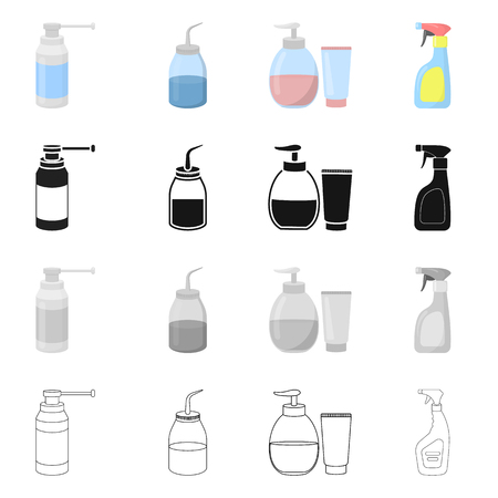 Vector design of sprayer and liquid icon. Collection of sprayer and pesticide stock vector illustration.