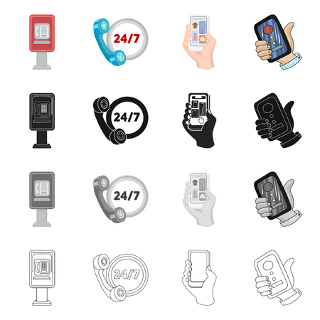 Vector illustration of phone and screen icon. Set of phone and cellphone stock symbol for web.