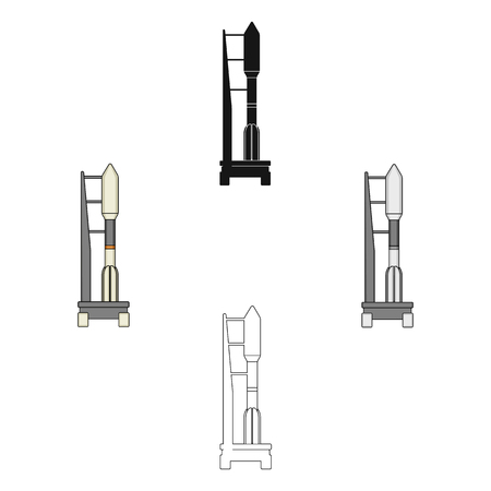 Space launch vehicle at launch. Space technology single icon in cartoon,black style vector symbol stock illustration .