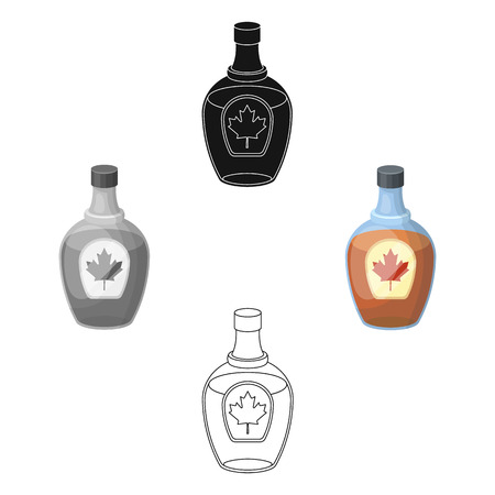Canadian maple syrup in a bottle. Canada single icon in cartoon,black style vector symbol stock illustration .