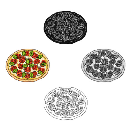 Pizza with meat, cheese and other filling. Different pizza single icon in cartoon,black style vector symbol stock illustration .