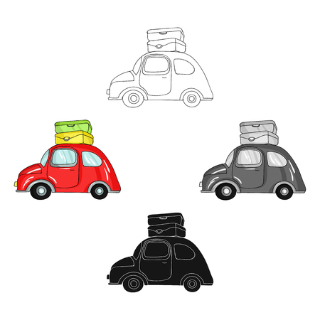 Red car with a luggage on the roof icon in cartoon,black design isolated on white background. Family holiday symbol stock vector illustration. Ilustracja