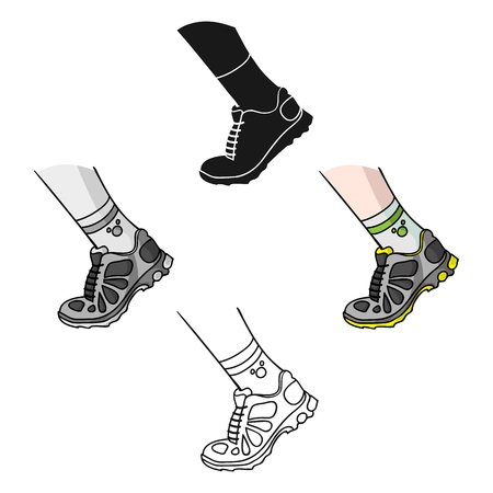 Sneakers icon in cartoon,black style isolated on white background. Sport and fitness symbol vector illustration. Illustration
