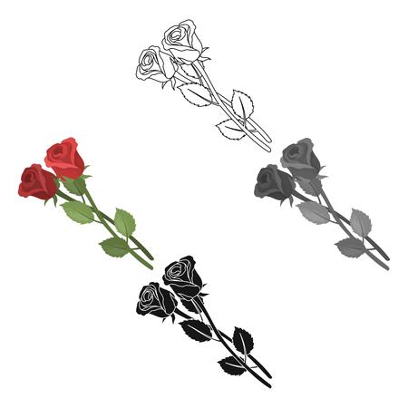 Icono de dos rosas en dibujos animados, diseño negro aislado sobre fondo blanco. Ilustración de vector de valores de símbolo de ceremonia fúnebre. Ilustración de vector