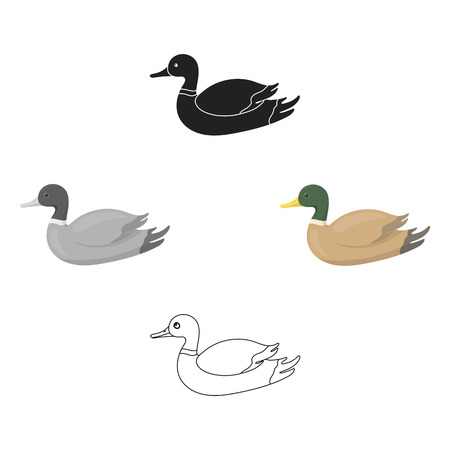 Duck icon in cartoon,black style isolated on white background. Hunting symbol vector illustration. 向量圖像