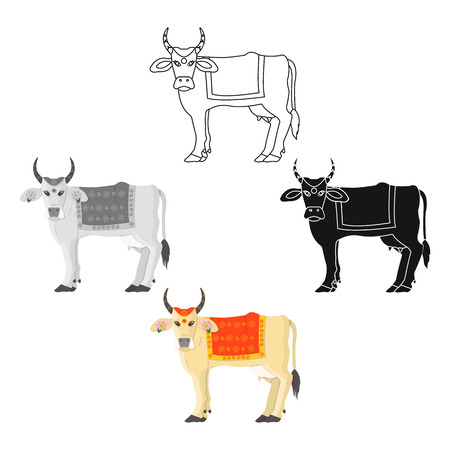 Sacred cow icon in cartoon,black style isolated on white background. India symbol vector illustration.