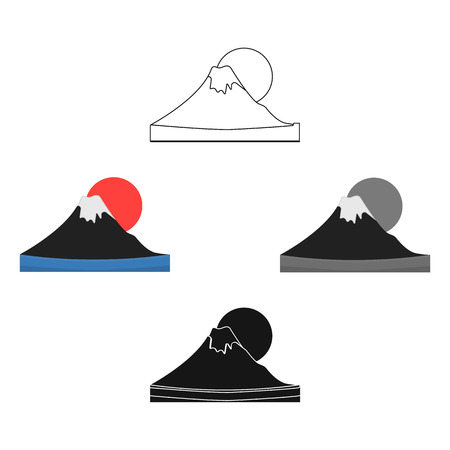 Mount Fuji icon in cartoon,black style isolated on white background. Japan symbol vector illustration.