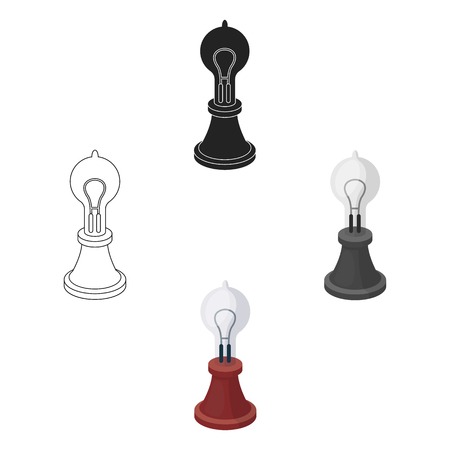 Edison s lamp icon in cartoon,black style isolated on white background. Light source symbol vector illustration