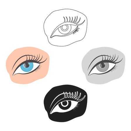 Applied mascara icon in cartoon,black style isolated on white background. Make up symbol vector illustration.