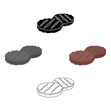 Grilled patties icon in cartoon,black style isolated on white background. Meats symbol vector illustration
