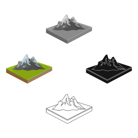 Mountains, rocks and landscape. Relief and mountains single icon in cartoon,black style isometric vector symbol stock illustration . Illustration