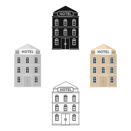 Hotel building icon in cartoon,black design isolated on white background. Rest and travel symbol stock vector illustration. Illustration