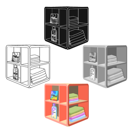 A rack in the bathroom for laundry and detergents. Furniture single icon in cartoon,black style Isometric vector symbol stock illustration .