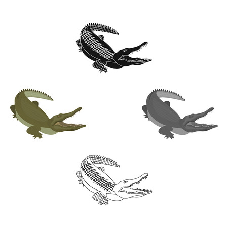 Crocodile, dangerous predator. Reptile, Nile crocodile single icon in cartoon,black style vector symbol stock illustration .