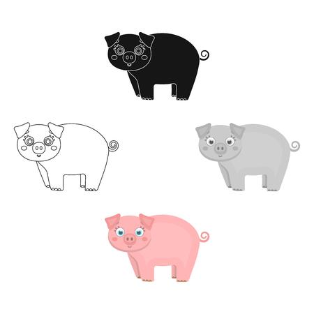 Piglet, single icon in cartoon,black style.Piglet vector symbol stock illustration .