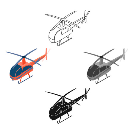 Helicopter icon in cartoon,black design isolated on white background. Transportation symbol stock vector illustration.