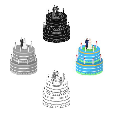 a wedding cake. Treat guests to the wedding.Wedding single icon in cartoon,black style vector symbol stock web illustration.