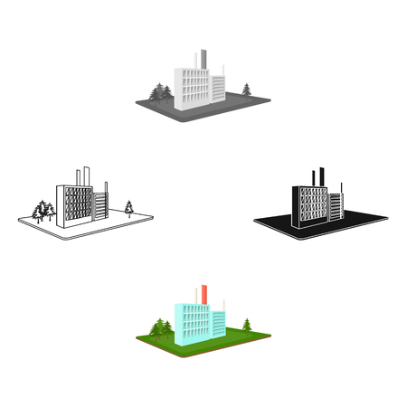 Processing factory. Factory and industry single icon in cartoon,black style isometric vector symbol stock illustration .