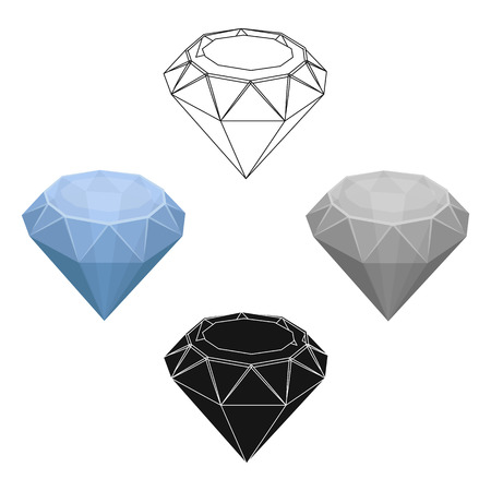 Diamond icon in cartoon,black design isolated on white background. Precious minerals and jeweler symbol stock vector illustration. Illustration