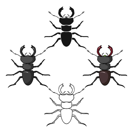 Forest red ant icon in cartoon,black style isolated on white background. Insects symbol stock vector illustration.
