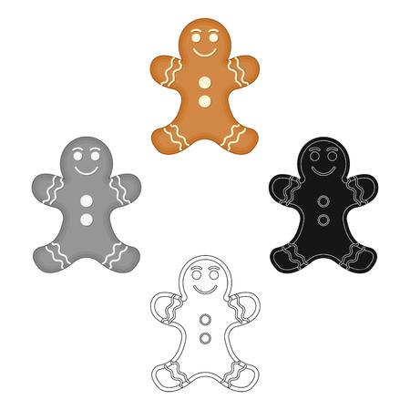 Christmas Gingerbread single icon in cartoon,black,black,flat,monochrome style for design. Christmas vector symbol stock illustration web. Ilustração
