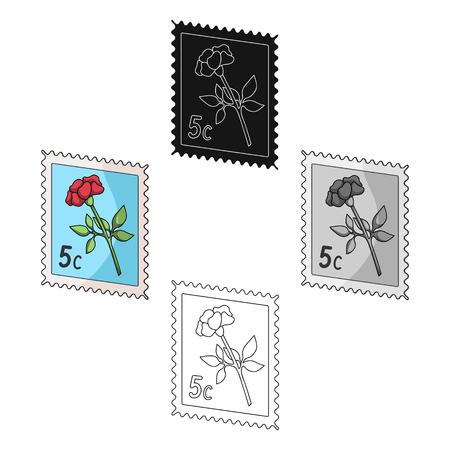 Postage Stamp.Mail and postman single icon in cartoon,black style vector symbol stock illustration web. Ilustração