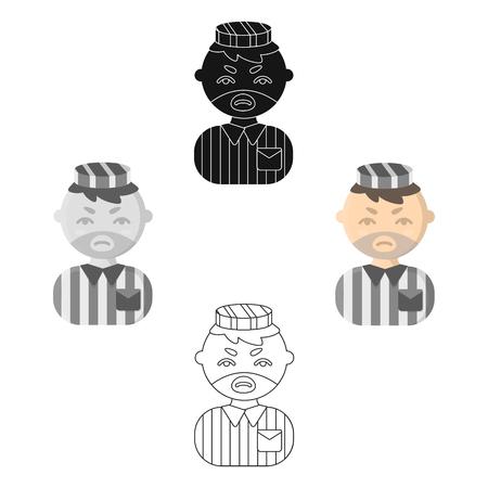 Prisoner cartoon,black icon. Illustration for web and mobile design.