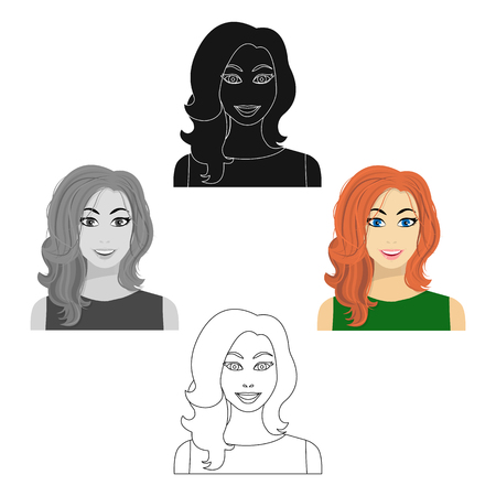 Redhead woman icon in cartoon,black style isolated on white background. Woman symbol vector illustration. Ilustração