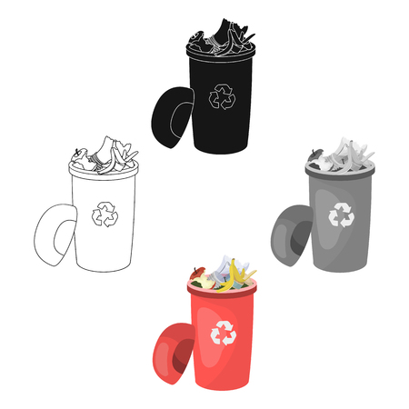 A full garbage can with waste. Rubbish and Ecology single icon in cartoon,black style vector symbol stock illustration ,