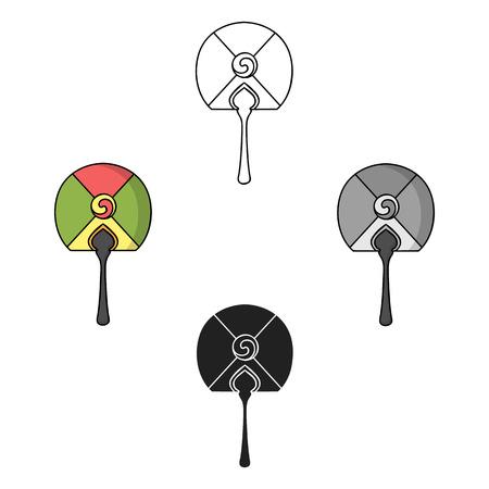 Korean hand fan icon in cartoon,black style isolated on white background. South Korea symbol stock vector illustration.