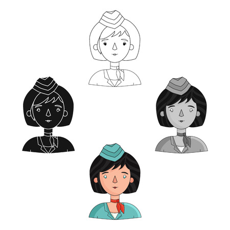 Stewardess icon in cartoon,black style isolated on white background. People of different profession symbol vector illustration. Illustration