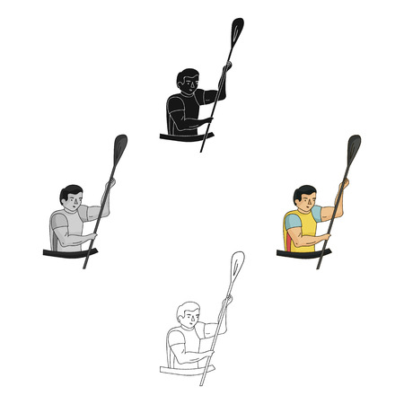 Rower in a boat with a paddle in hand down to the baydak on the wild river.Olympic sports single icon in cartoon,black style vector symbol stock web illustration. Illusztráció