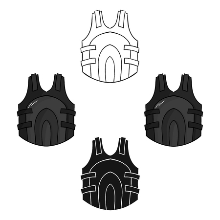 Paintball vest icon in cartoon,black style isolated on white background. Paintball symbol stock vector illustration.